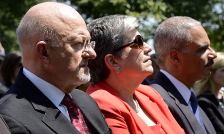 James Clapper (left) with Janet Napolitano and Eric Holder