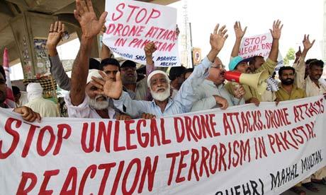 Pakistani protesters, drones, Multan