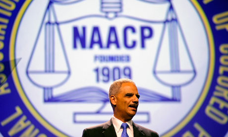 Eric Holder addresses the NAACP conference
