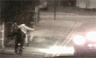 CCTV footage of unmarked police car being fired at