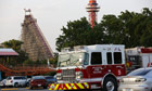 Emergency personnel on the scene at Six Flags Over Texas in Arlington