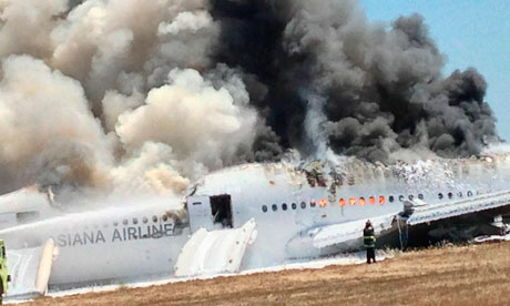 Asiana Airlines Boeing 777 on the tarmac after crash