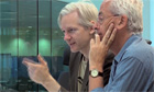 Julian Assange and the Guardian's Nick Davies in a still from We Steal Secrets