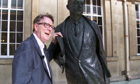 Peter Mandelson with a statue of Philip Larkin