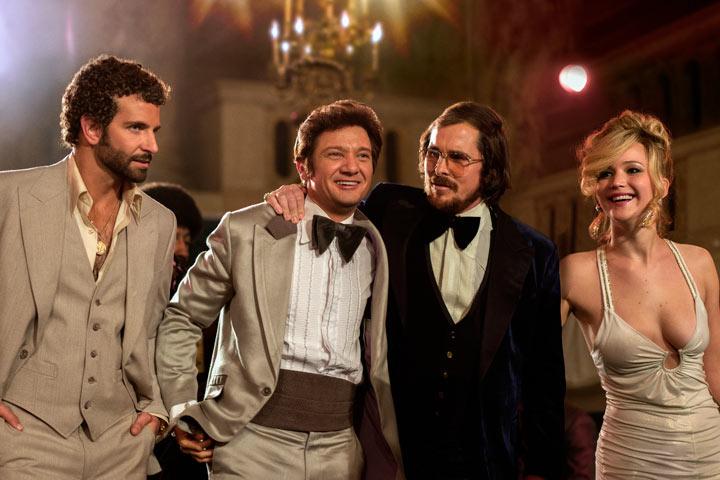 Bradley Cooper, Jeremy Renner, Christian Bale and Jennifer Lawrence in American Hustle