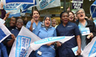 Midwives on strike in central London