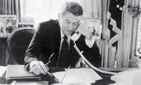 President Reagan Speaking on the Telephone