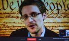 Edward Snowden speaking at SXSW