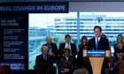 David Cameron speaking at the launch of the Conservative campaign for European Parliament elections