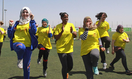 Former Olympic champion Jackie Joyner-Kersee holds running clinic for Palestinian women  video