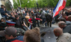 Pro-Russian activists storm an administration building in the center of Luhansk