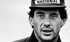 Ayrton Senna the reigning Formula One World Champion with McLaren-Honda, at Silverstone.