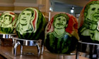 Brazilian chef carves World Cup stars' faces on to watermelons – video