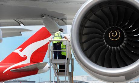 澳航一架A380正在做飛行準備。 圖片來自:衛報。