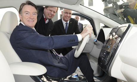 Lord Mandelson at wheel of Nissan Leaf electric car