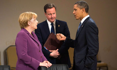 David Cameron with Angela Merkel and Barack Obama at the G8 summit in Canada