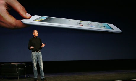 Apple CEO Steve Jobs appears at Apple launch of second generation iPad