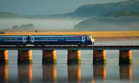 train on a viaduct