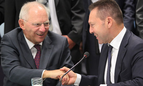 German Finance Minister Schaeuble in Athens