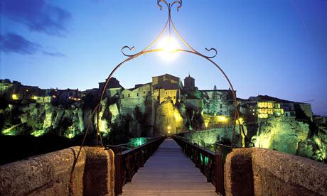View of the town from the bridge in Castilla, La Mancha