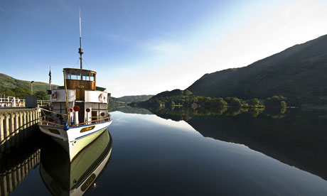 An Ullswater steam boat moored at Glenridding in Cumbria