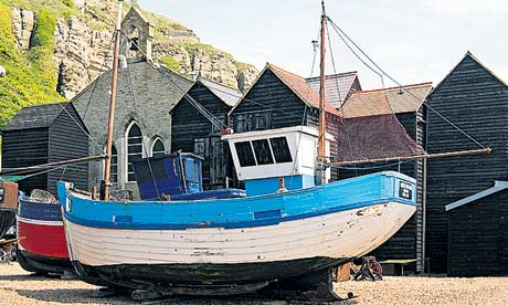 Historical fishing boats on display at the Fishermen's Museum in Hastings