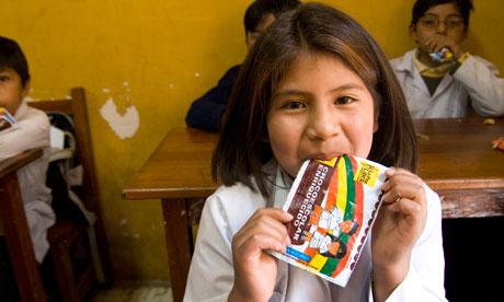 A primary school child in La Paz, Bolivia.