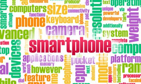 A 'wordle' with the word 'smartphone' prominently displayed