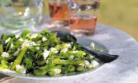 Broad bean, asparagus, mint & feta salad
