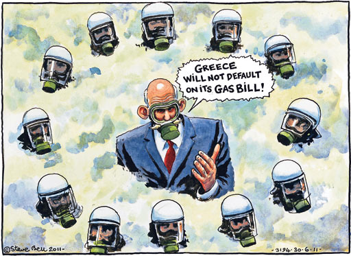 Steve Bell on the riots in Athens after the austerity bill was passed by a narrow margin in the Greek parliament