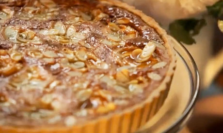 Apricot, honey and almond tart