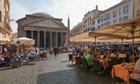 Tourists in outside restaurant at Pantheon