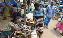 Patience Diaba sells her smoked fish at the market at Dabala Junction