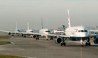 Planes queueing at Heathrow