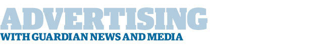 Badge reading 'advertising with Guardian News and Media'