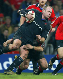 RBS: Wales' Scott Quinnell tries to break through the