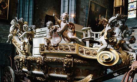 BTB: The Golden casket inside the Collégiate Ste-Waudru, Mons, Belgium.