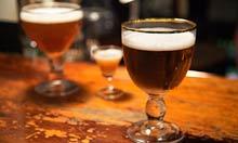 BTB: glasses of Belgian beer in a bar