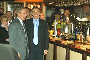 George Bush and Tony Blair at the Dun Cow pub in Sedgefield, County Durham
