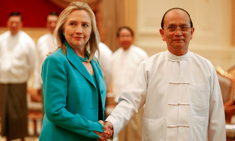 US Secretary of State Hillary Clinton and Burma's president Thein Sein