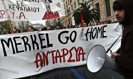 Protesters in Greece during Angela Merkel visit