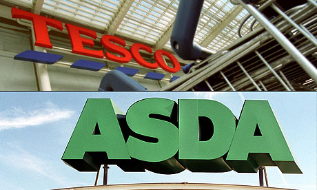 Tesco and Asda signs