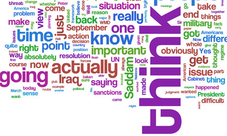 Wordle of Tony Blair's Iraq inquiry testimony