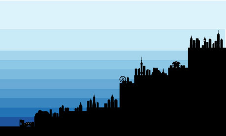 image of rising sea levels from Guardian data blog