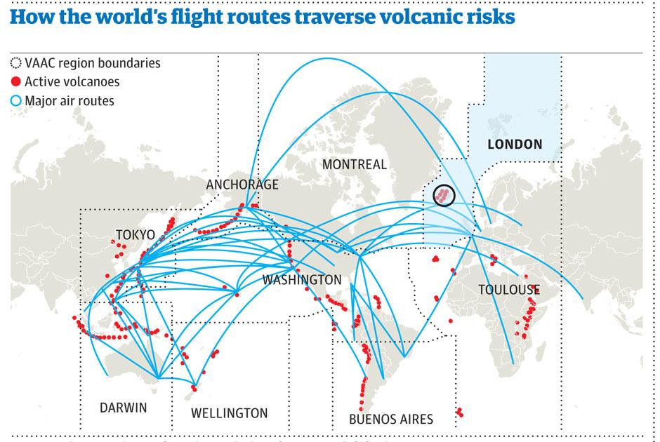 mister bijou Active volcanoes and major flight routes worldwide