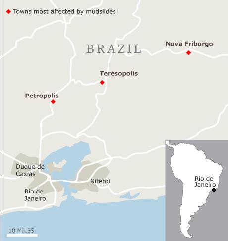 Map - Brazil mudslides near Rio de Janeiro