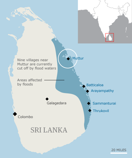 Map - Sri Lanka floods