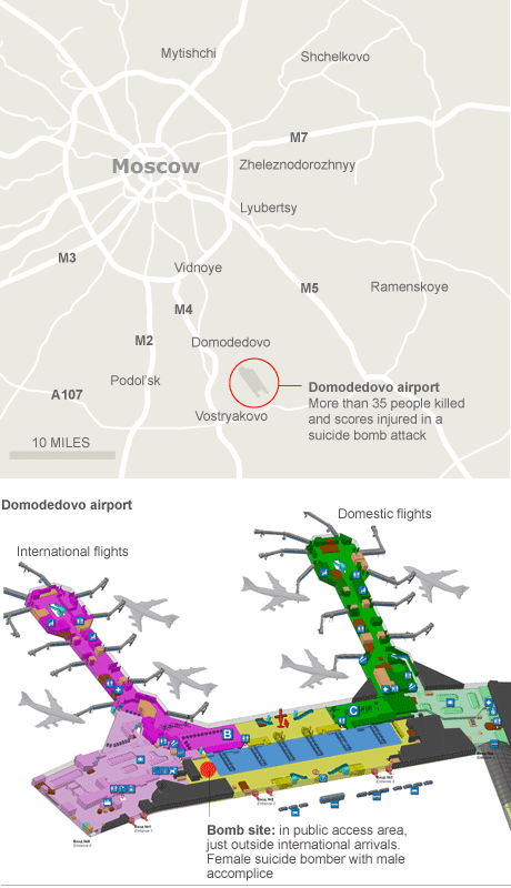 Graphic: suicide bomb attack at Domodedovo airport