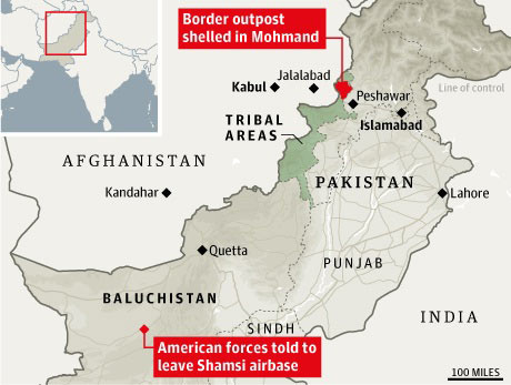Location of Nato air attack on Pakistani troops, and Shamsi airbase