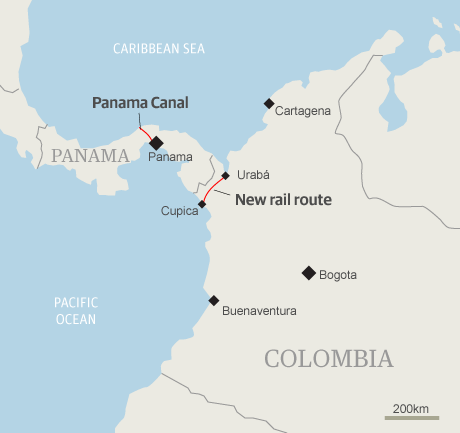 map of colombia. Map - Colombia new rail